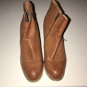 Ecote Brown Leather Ankle Booties
